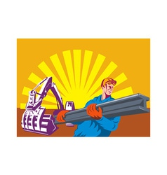 construction worker at work with digger vector image