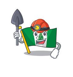 Cool clever miner flag norfolk island cartoon vector