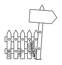 Cute arrow guide wooden with fence scene vector