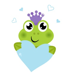 Cute frog holding Heart isolated on white vector
