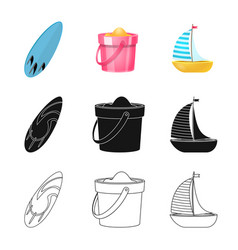 Design of equipment and swimming sign set vector