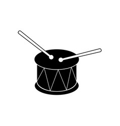 Drum sign filled black icon at white vector