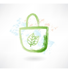 Eco bag grunge icon vector