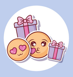 Emojis and gift boxes vector