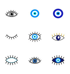Evil eye protection talisman collection of vector