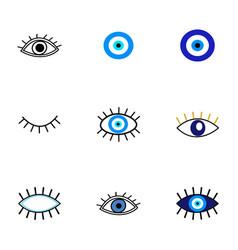 Evil eye protection talisman collection vector