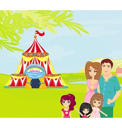 Family goes to the circus vector