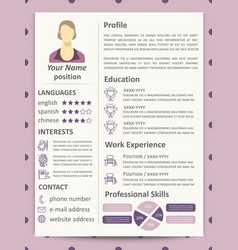 Female resume template with infographics elements vector