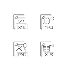 File types pixel perfect linear icons set vector