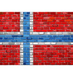 Flag of Norway on a brick wall vector