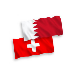 Flags bahrain and switzerland on a white vector