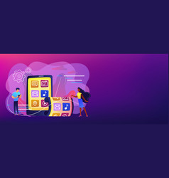 Foldable smartphone concept banner header vector