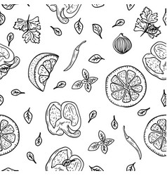 food pattern background hand drawing lemon herbs vector image