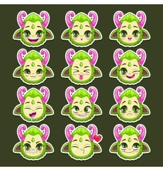 Funny cartoon green monster emotions vector