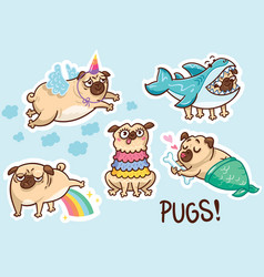 funny pug dog sticker set vector image
