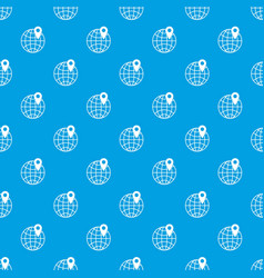 globe with pin pattern seamless blue vector image vector image