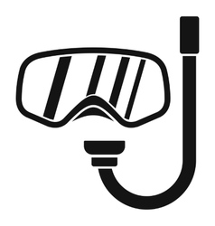 Goggles and tube for diving icon simple style vector image