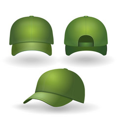 green baseball cap realistic set front side view vector image vector image