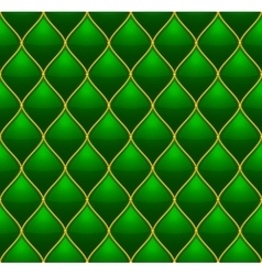 Green with Gold Quilted Leather Seamless vector image