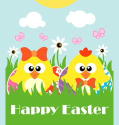 happy easter background card with two funny vector image