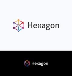 Hexagon 3D cube frame logo vector image