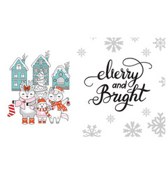 horizontal christmas card merry and bright vector image