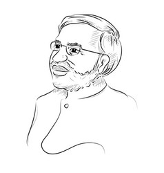 Isolated white background with indian great leader vector