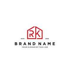 Letter rk home logo design concept vector