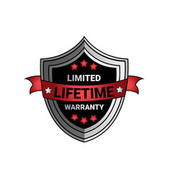 limited lifetime warranty sign silver shield seal vector image