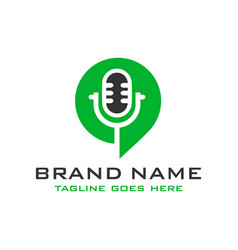 Logo chat microphone vector