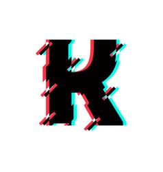 Logo letter k glitch distortion diagonal vector