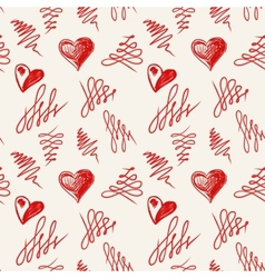 Love hearts sketch hand drawn vector