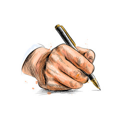 male hand with pen from a splash watercolor vector image