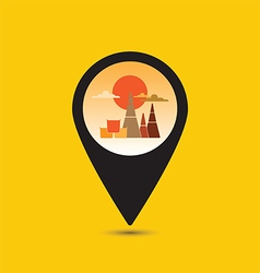 Map pointer Thailand temple icon vector