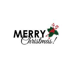 merry christmas inscription with caramel cane vector image