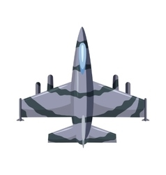 Military airplane icon cartoon style vector image