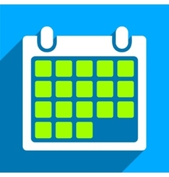 Month Calendar Flat Square Icon with Long Shadow vector