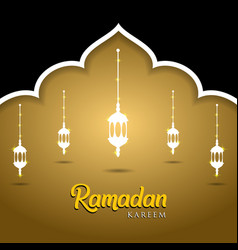 Mosque and lanterns on golden background muslim vector