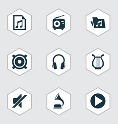 Music icons set collection of lyre tuner vector