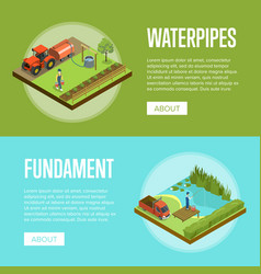 Natural farming isometric horizontal flyers vector