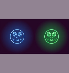 neon zombie head in blue and green color vector image
