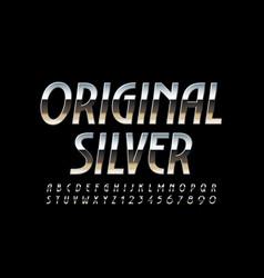 original silver letters elegant font vector image
