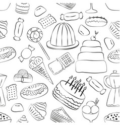 outlinrd sweets seamless pattern with hand drawn vector image