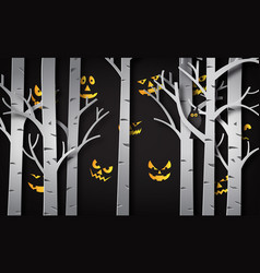 Paper art of happy halloween vector