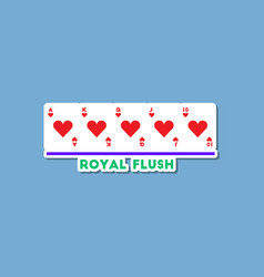 Paper sticker on stylish background poker royal vector