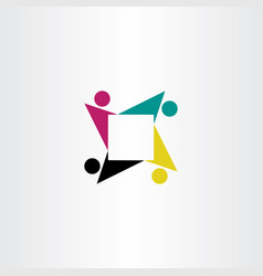people teamwork square logo symbol icon vector image