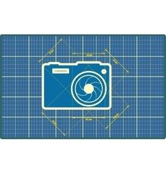 Photo camera icon Blueprint style vector image