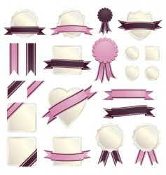 pink ribbons and seals vector image