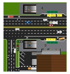 Plot road highway street with the store vector image