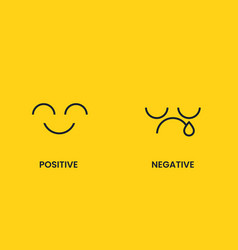 Positive and negative sad and cheerful emoticon vector